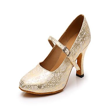 Mulheres Sapatos de Dança Couro Ecológico Sapatos de Dança Moderna Recortes Salto Salto Cubano Personalizável Dourado / Espetáculo