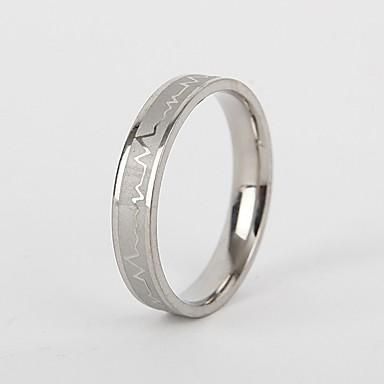 levne Pánské šperky-Pánské Dámské Band Ring Prsten Tail Ring 1ks Stříbrná Titanová ocel Kulatý Vintage Základní Módní Dar Šperky