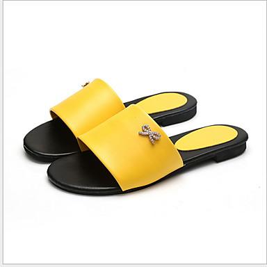 levne Dámské žabky a pantofle-Dámské Pantofle a Žabky Rovná podrážka Oblá špička PVC Léto Černá / Bílá / Žlutá
