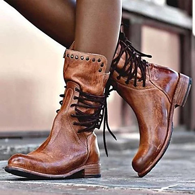 preiswerte Damenschuhe-Damen Stiefel Komfort Schuhe Niedriger Heel Runde Zehe Wildleder Herbst Winter Schwarz / Braun / Grau