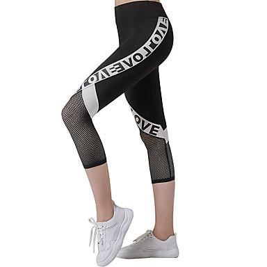 Mulheres Calças de Yoga Moderno Dourado Com Transparência Corrida Fitness Treino de Ginástica 3/4 calças justas Roupas Esportivas Respirável Pavio Humido Secagem Rápida Butt Lift Elasticidade Alta