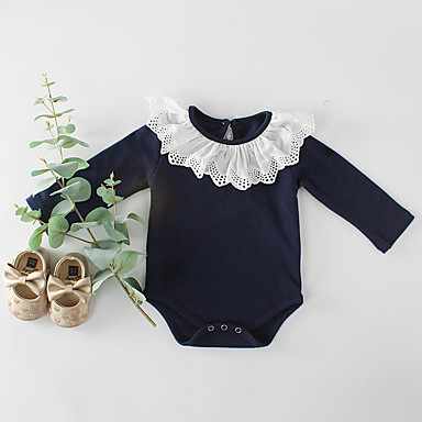 povoljno Odjeća za bebe-3 komada Dijete Djevojčice Aktivan / Ulični šik Blue & White Jednobojni Dugih rukava bodysuit Obala