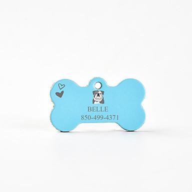 Personalizado Personalizado Buldogue Pet Tags Clássico Presente Diário 1pcs Rosa Azul Céu Café / Inscrições a Laser