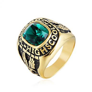 levne Pánské šperky-Pánské Prsten Barva ozdobného kamene 1ks Červená Zelená Modrá Titanová ocel Kulatý Vintage Základní Módní Svatební Šperky Písmeno Vlajka Cool