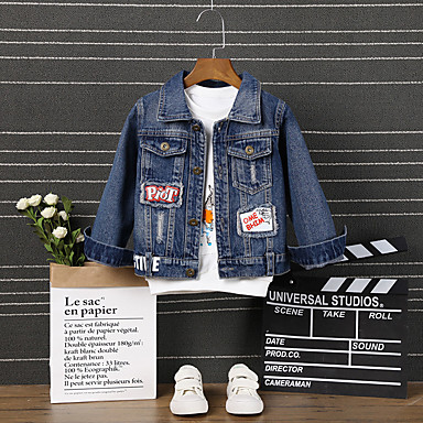 povoljno Odjeća za dječake-Djeca Dječaci Aktivan Osnovni Print Kolaž Normalne dužine Jakna i kaput Plava
