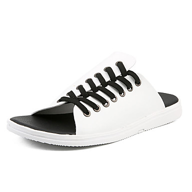Homens Sapatos Confortáveis Couro Ecológico Verão Chinelos e flip-flops Preto / Branco