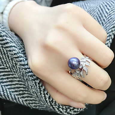 cheap Rings-Women's Open Ring Adjustable Ring Freshwater Pearl 1pc Dark Blue Pearl S925 Sterling Silver Circular Luxury Classic Elegant Wedding Party Jewelry Leaf