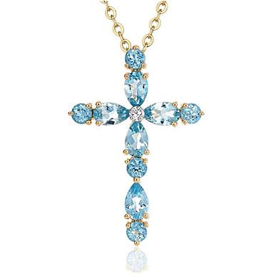 povoljno Modne ogrlice-Žene Plav Sintetički Sapphire Ogrlice s privjeskom Geometrijski Kereszt Moda Titanium Steel Svjetloplav 40+5 cm Ogrlice Jewelry 1pc Za Dnevno Rad