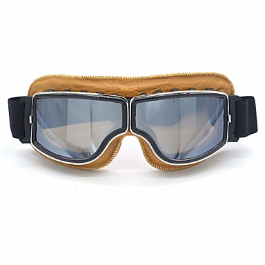preiswerte Motorradhelme-leder vintage rollerbrille pilot ski sonnenbrille helm brillen rahmen coloryellow linsen farbensilber
