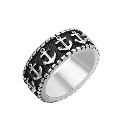 billige Motering-Herre Band Ring Ring 1pc Sølv Titanium Stål Sirkelformet Vintage Grunnleggende Mote Daglig Smykker Skip Anker Kul