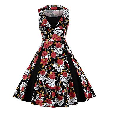 Inspiração Vintage Vestidos Mulheres Elastano Ocasiões Especiais Branco + azul / Vermelho + preto / Vermelho / Branco Vintage Cosplay 3/4 de Manga