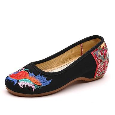 levne Dámské boty s plochou podrážkou-Dámské Bez podpatku Klínový podpatek Oblá špička Plátno Léto Černá / Červená