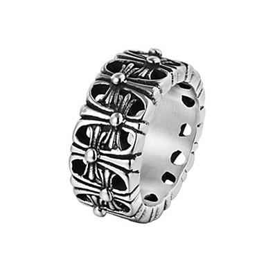 billige Motering-Herre Band Ring Ring 1pc Sølv Titanium Stål Sirkelformet Vintage Grunnleggende Mote Daglig Smykker Kors Kul