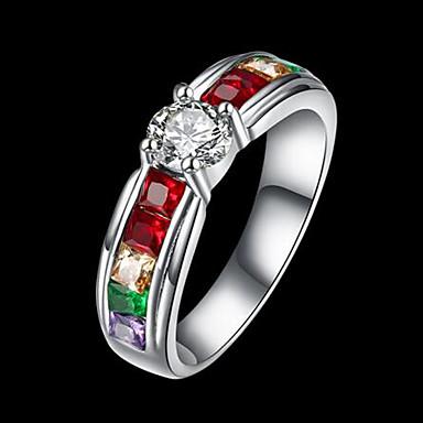 billige Motering-Dame Ring Kubisk Zirkonium 1pc Sølv Titanium Stål Gullbelagt Rund Stilfull Gave Daglig Smykker Klassisk Regnbue Kul
