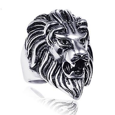 levne Dámské šperky-Pánské Band Ring Prsten Tail Ring 1ks Stříbrná Titanová ocel Kulatý Vintage Základní Módní Dar Denní Šperky Zvíře Cool