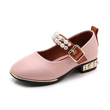 preiswerte Schuhe für Kinder-Mädchen Schuhe für das Blumenmädchen PU High Heels Kleinkind (9m-4ys) / Kleine Kinder (4-7 Jahre) Perle / Schnalle Schwarz / Beige / Rosa Sommer / Gummi
