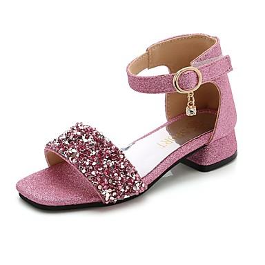 저렴한 아동 샌달-여아 플라워 걸 신발 PU 샌들 어린 아이들 (4-7ys) 블랙 / 슬리버 / 핑크 여름