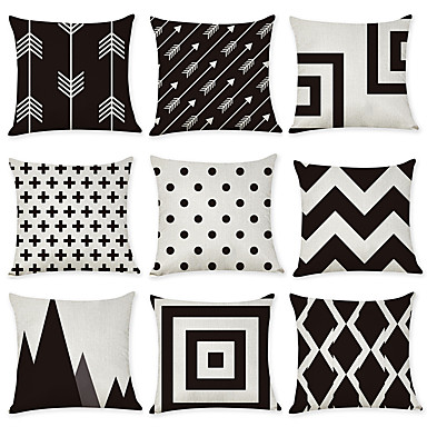 cheap Decorative Pillows-Set of 9 Linen Pillow Cover, Geometic Contemporary Fashion Modern Throw Pillow