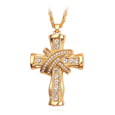 povoljno Modne ogrlice-Muškarci Ogrlice s privjeskom Ukriženo Kereszt Casual / sportski Rock Krom Zlato 50 cm Ogrlice Jewelry 1pc Za Dar