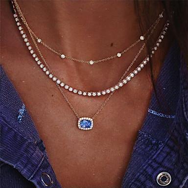 Mulheres Gargantilhas Colar colares em camadas Multi Camadas Europeu Na moda Fashion cromada Imitações de Diamante Dourado 34 cm Colar Jóias 1pç Para Noivado Presente Diário Baile de Formatura