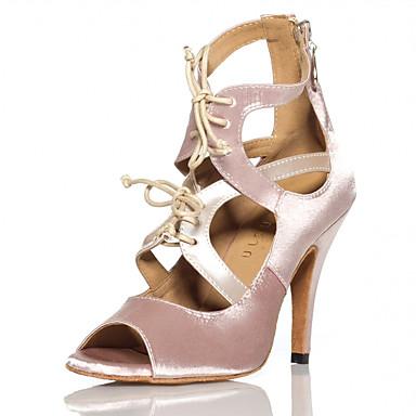 Mulheres Sapatos de Dança Latina Cetim Com Cadarço Salto Recortes Salto Alto Magro Personalizável Sapatos de Dança Nú / Espetáculo