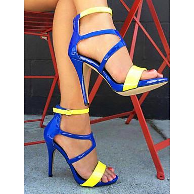 levne Dámské sandály-Dámské Sandály Vysoký úzký Otevřený palec Lakovaná kůže Léto Modrá / Barevné bloky