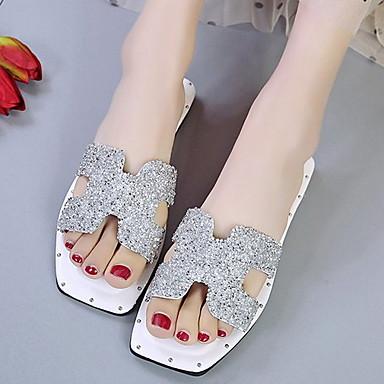 voordelige Damespantoffels & slippers-Dames Slippers & Flip-Flops Platte hak Vierkante Teen PU Zomer Zwart / Groen / Wit