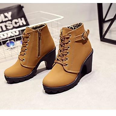 cheap Women's Boots-Women's Block Heel Boots Chunky Heel Buckle / Zipper / Lace-up Faux Suede 5.08-10.16 cm / Booties / Ankle Boots Fall / Winter Black / Yellow / Green / EU39