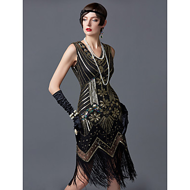 Vintage 1920s Flapper Dress Great Gatsby Themed Party Charleston Fringed Costume