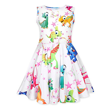 cheap Baby & Kids-Kids Girls' Cartoon Knee-length Dress Rainbow
