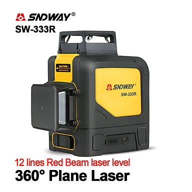 levne Testovací, měřící a kontrolní vybavení-sndway sw-333r laserové úrovně zelené laserové úrovně 360 stupňů 3d samonivelační vertikální horizontální rotační lasery 12 řádků laserové úrovně