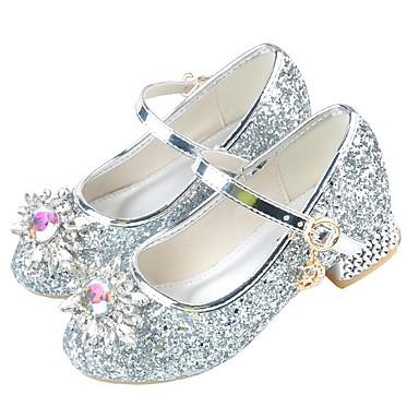 preiswerte Schuhe für Kinder-Mädchen Schuhe für das Blumenmädchen PU High Heels Kleine Kinder (4-7 Jahre) Kristall Silber / Rosa Sommer