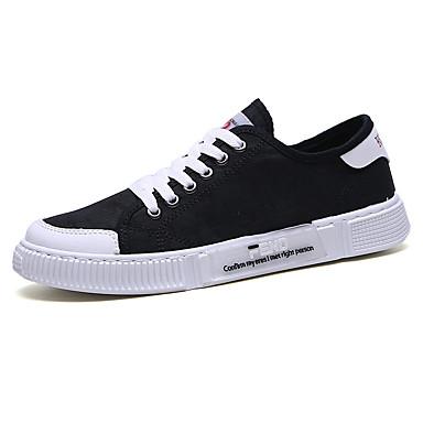 Homens Sapatos Confortáveis Couro Ecológico Verão Tênis Preto / Branco / Khaki / Ao ar livre