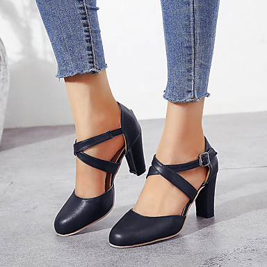 cheap LITB Featured-Women's Heels Chunky Heel Round Toe Buckle PU(Polyurethane) British Walking Shoes Spring & Summer / Fall & Winter Black / Blue / Gray