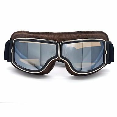 billige Motorsykkel & ATV tilbehør-skinnbriller i vintage skinn pilot ski solbriller hjelm brille rammer fargebrune linser farger