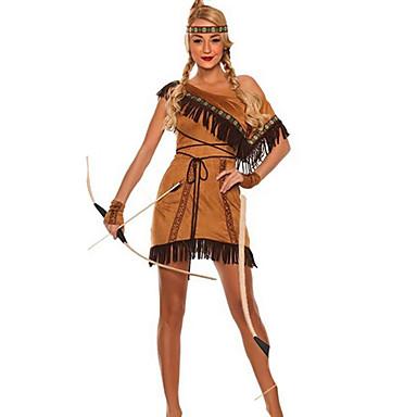 39 99 Muchacha India Disfraz Mujer Tema De La Vendimia Halloween Rendimiento Fiesta Temática Disfraces Mujer Trajes De Baile Poliéster Borla