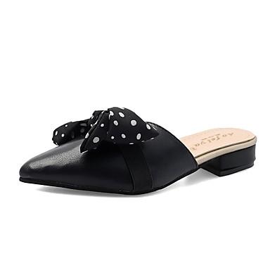 levne Dámské žabky a pantofle-Dámské Pantofle a Žabky Block Heel Mašle PU Na běžné nošení Léto Černá / Bílá