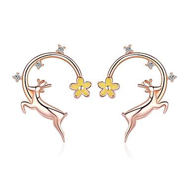 levne Dámské šperky-autentické 925 šterlinků běh jelenů růže zlaté barvy náušnice pro ženy módní náušnice šperky
