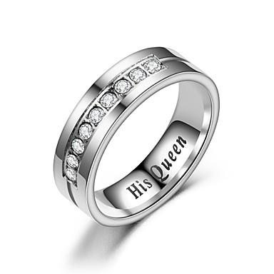 billige Motering-Par Parringer Ring 1pc Hvit Sølv Rustfritt Stål Sirkelformet Vintage Grunnleggende Mote Love Smykker Krone Kul