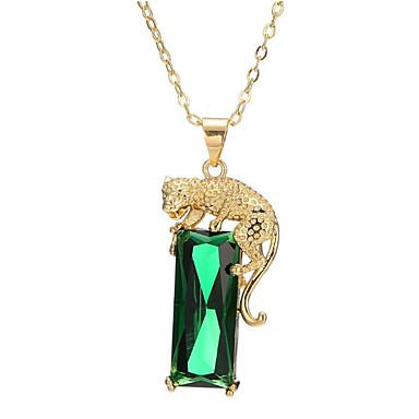 povoljno Modne ogrlice-Žene Zelen Onyx Ogrlice s privjeskom Long Tigar Moda mesing Pozlaćeni Svijetlo zelena 40+5 cm Ogrlice Jewelry 1pc Za Dar Dnevno