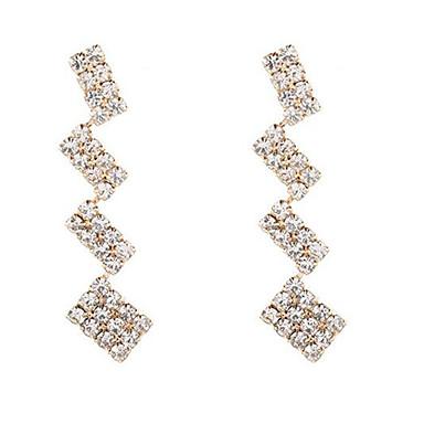 Mulheres Brincos Compridos Longas Torre Imitações de Diamante Brincos Jóias Dourado Para Diário 1 par