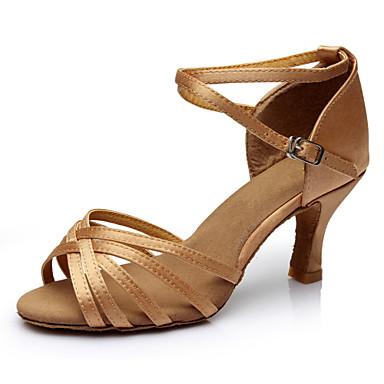 cheap Cheap Dance Shoes-Women's Dance Shoes Satin Latin Shoes Heel Slim High Heel Customizable Nude / Performance