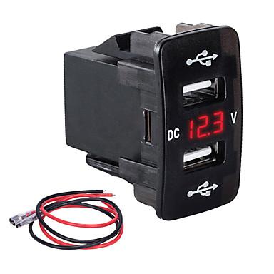 levne Auto Elektronika-slot typu auto nabíječka duální usb 3.1a multifunkční rychlonabíječka s měřičem napětí pro automobily pro modely hondagreen light