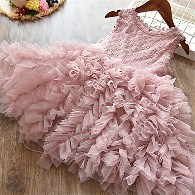 cheap Girls' Clothing-Kids Toddler Girls' Active Cute Party Birthday Butterfly Solid Colored Lace Ruched Sleeveless Midi Dress