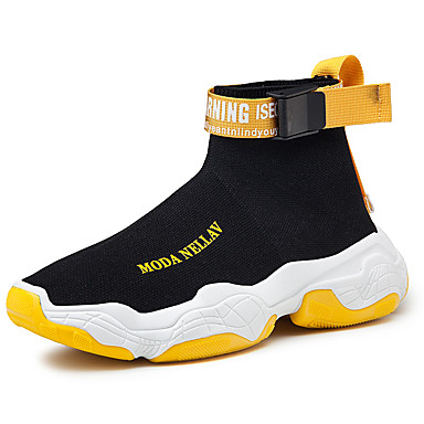 cheap Men's Sneakers-Men's Chunky Sneakers Tissage Volant Spring & Summer Casual Sneakers Breathable Slogan Black and White / Black / Yellow / White / Yellow