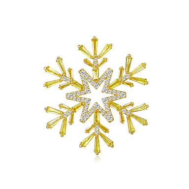 voordelige Dames Sieraden-Dames Zirkonia Broches Klassiek Sneeuwvlok Stijlvol Eenvoudig Vintage Zoet Modieus Broche Sieraden Gouden Voor Feest Lahja Straat Feestdagen Festival
