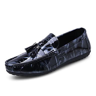 preiswerte Druck von Oxfords-Herrn Mokkasin PU Sommer Loafers & Slip-Ons Schwarz und Gold / Weiß / Blau / Draussen