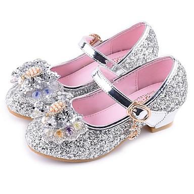 preiswerte Kleine Absätze für Teenager-Mädchen Schuhe für das Blumenmädchen PU High Heels Kleine Kinder (4-7 Jahre) Silber / Rot / Rosa Sommer