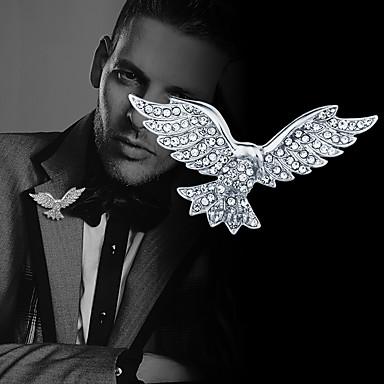 Homens Cristal Broches Corrente de Tênis Eagle Criativo Animal Luxo Clássico Básico Rock Fashion Broche Jóias Dourado Prata Para Casamento Festa Diário Trabalho Bandagem