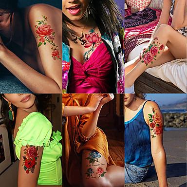 6 folhas grandes tatuagens temporárias flor papel sexy body tattoo sticker para as mulheres& tatuagem falsa menina (lírio peônia ameixa pêssego)